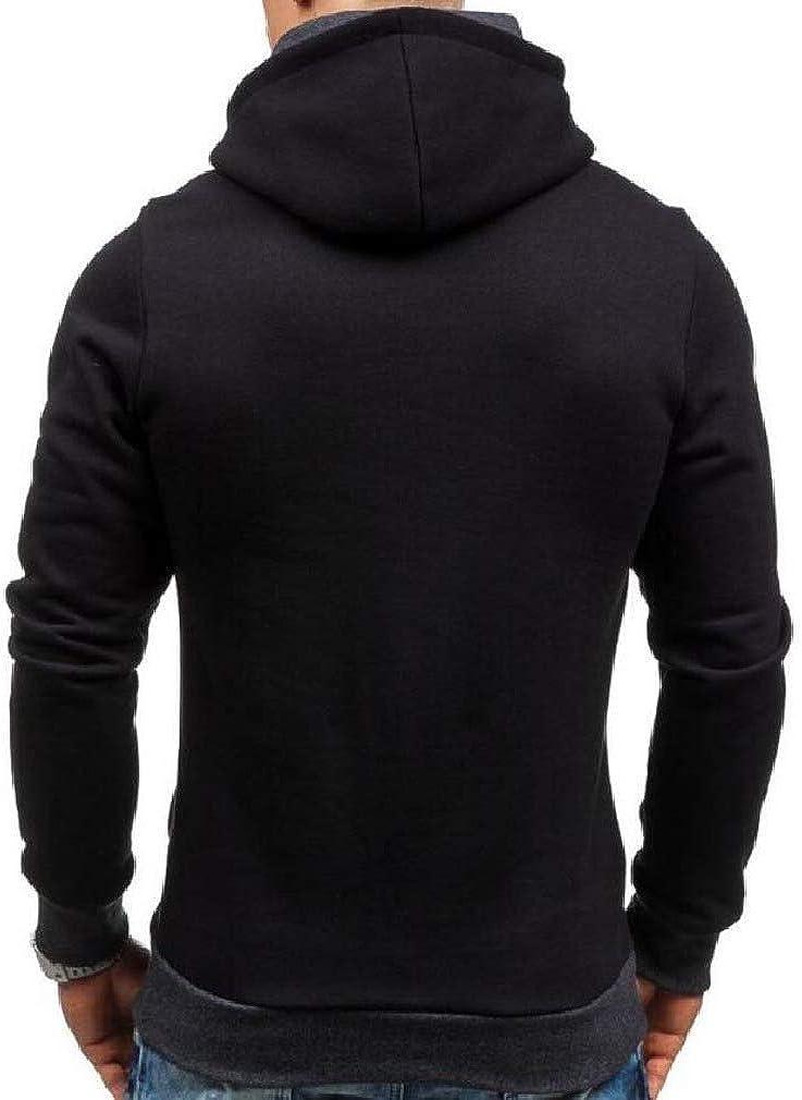 Joe Wenko Mens Long Sleeve Autumn Zipper Pullover Pocket Hooded Sweatshirts