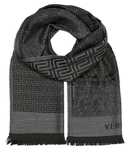 Versace Collection Gray Medusa Geometric Scarf