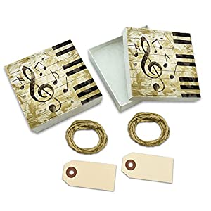 Vintage Piano with Treble Clef and Music Notes White Gift Boxes Set of 2