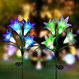 Digiroot Solar Garden Stake lights - 2 Packs Outdoor Waterproof Lily Flower Solar Powered Lights,Multi-color Changing LED Solar Stake Lights for Garden, Lawn, Patio, Backyard Decoration (Purple/White)