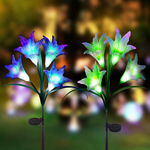 Digiroot Solar Garden Stake lights - 2 Packs Outdoor Waterproof Lily Flower Solar Powered Lights,Multi-color Changing LED Solar Stake Lights for Garden, Lawn, Patio, Backyard Decoration (Purple/White) by Digiroot
