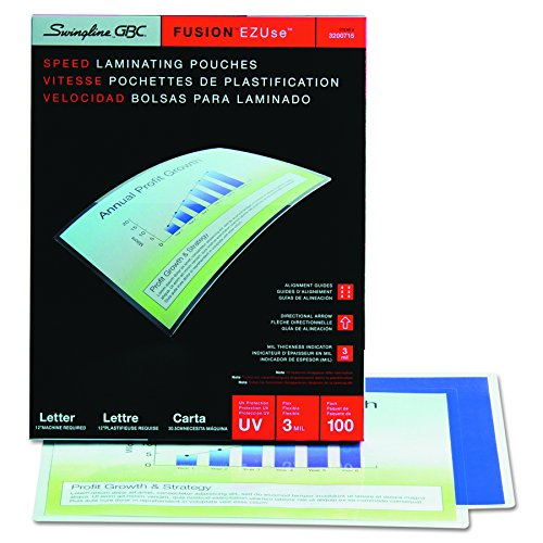 Swingline GBC Laminating Sheets, Thermal Laminating Pouches Letter Size, 3mil, EZUse Speed Pouch, 100 Pack (3200715)