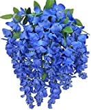 Admired By Nature Artificial Wisteria Long Hanging Bush Flowers - 15 Stems for Home, Wedding, Restaurant and Office Decoration Arrangement, Periwinkle