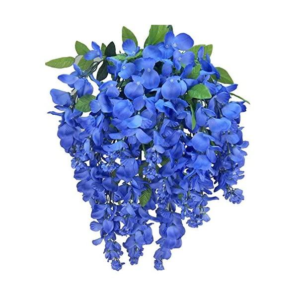Artificial Wisteria Long Hanging Bush Flowers – 15 Stems For Home, Wedding, Restaurant and Office Decoration Arrangement, Periwinkle