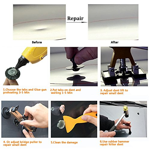 HOTPDR Paintless Dent Removal Tools Dent Repair Puller Kit PDR Dent Lifter Puller Grip PRO with Hammer Tab Down Tools 100W Glue Gun for Auto Body Dent Repair (60 Pcs) by HOTPDR (Image #4)