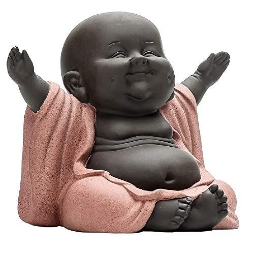 Creative Buddha Statues,Chinese Ceramic/Zisha/Purple Clay Buddha Art Home Decor,Clever Craftsman Crafts Laughing Buddha Figurine Desk Displaying Decor (Laughing Buddha) - Laughing Buddha Sculptures