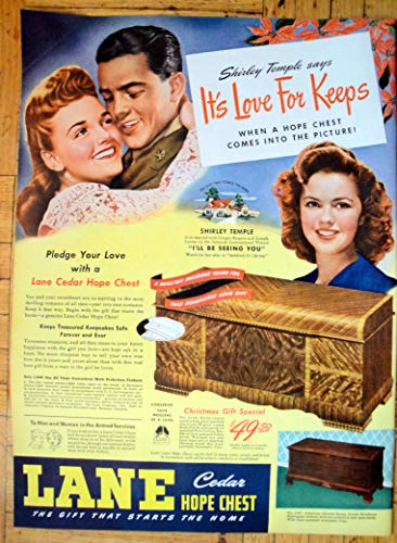 1947 Lane Cedar Hope Chest-Shirley Temple $49.50-Original 13.5 * 10.5 Magazine Ad
