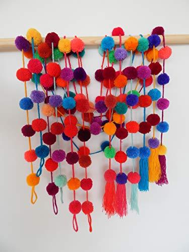 Mexican Curtain Pom Pom Garland by El azülejo - 6 Assorted Pcs - Mexican Fiesta Party Decoration - Cinco de Mayo Decoration - Party Supplies - Home Décor Supplies (Pom Curtains Pom)