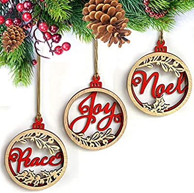 KathShop 3Pcs Christmas Wooden Wall Hanging Decor Deer Letter Pattern Double Layer DIY Wooden Hanging Sign with Rope Christmas Decor