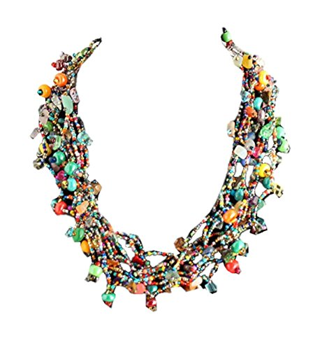 Enchanted Imports Treasure Chest Beaded Necklace, Handmade in Guatemala (Rainbow, 19 inch) (Fair Trade Glass Beaded Necklace)