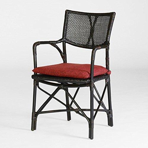 籐肘掛食堂椅子 ラタンダイニングチェア エルフアーム シルクブラウン色 アジアンテイスト B07DYP9HCT