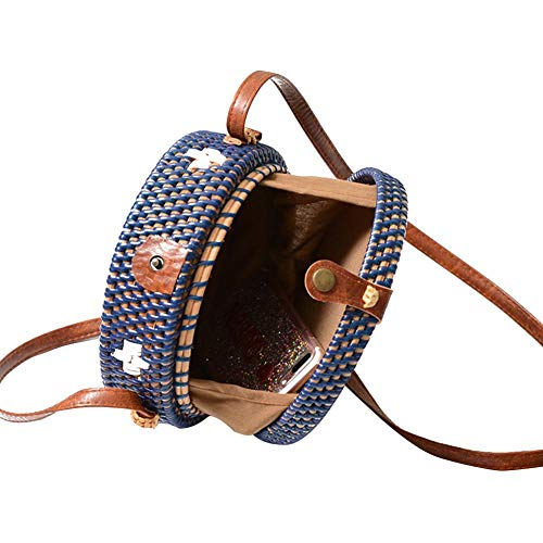 Beatie Correa Playa El bolso De Mujer Colorida Bolso Bolso Azul Bolsos PU Tejido Paja Bolso Ronda hombro A Paja Oscuro Con Ratán Mano De Para Hombro Verano TwHxpn1