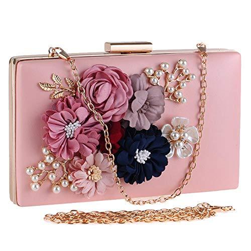 Women Flower Clutches Evening Bags Handbags Wedding Clutch Purse (Hot pink)