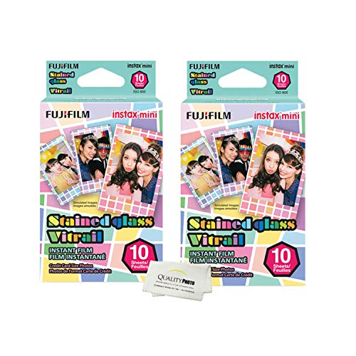 (Fujifilm Instax Mini 8 and Mini 9 Stained Glass Instant Film-2 Pack- (20Prints) + Quality Photo Microfiber Cloth)