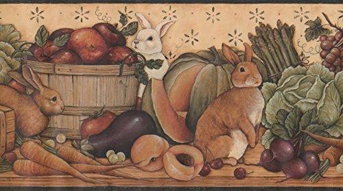 (Brown White Rabbit Bunny Fruits Vegetables Basket Beige Wallpaper Border Retro Design, Roll 15' x 9