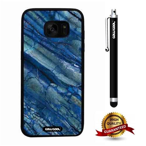Galaxy S7 edge Case, Marble Pattern Case, Cowcool Ultra Thin Soft Silicone Case for Samsung Galaxy S7 edge - Pale Blue Fault Marble Texture