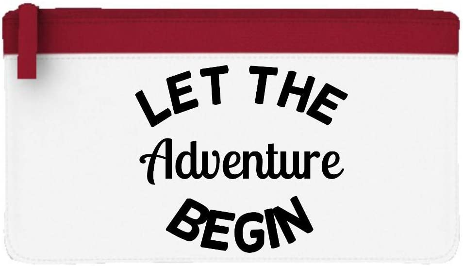 Estuche plano con texto en inglés Let The Adventure Begin, color rosso talla única: Amazon.es: Oficina y papelería