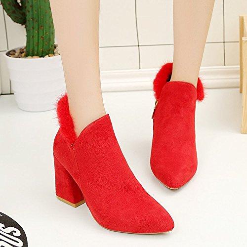 da Rosso tacco punta morbidi con cotone scarponi ii moda 39 alto spessore lati di conici Scarpe FdqUF