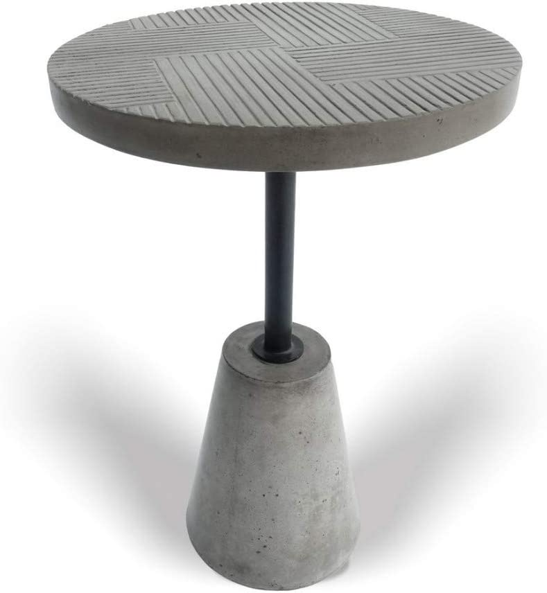 Limari Home Berger Collection Modern Style Living Room Concrete Round End Table With Metal Bar & Line Details On Top, Gray & Black