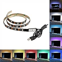 Flexible USB LED Strip Light, Minger 3.28ft 60leds SMD 5050 RGB LED Rope Strip Light Adhesive Tape Multi-color Changing Lighting for TV, Monitor Backlight