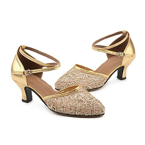 Yarn Toe Modern Dance Shoes KINDOYO Ballroom Women's Gold Latin Net Wedding Party Closed ZEIBqC