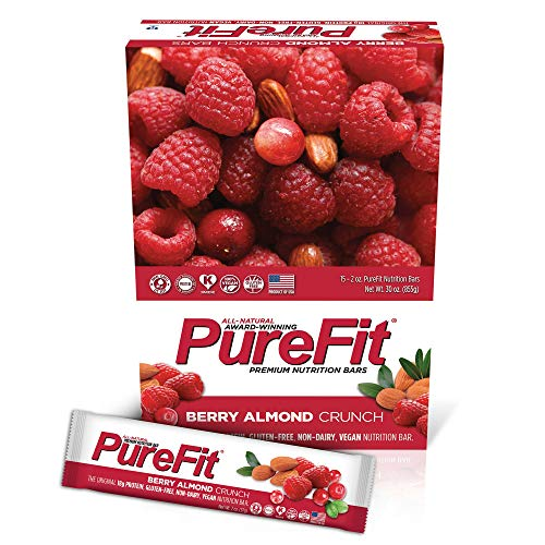 PureFit Berry Almond Crunch Premium Nutrition Bars, 15 Count | The Original 18G Protein, Gluten Free, Non-Dairy, Low Carb, Vegan Snack Bar for Healthy Living, Performance Enhancement and Energy