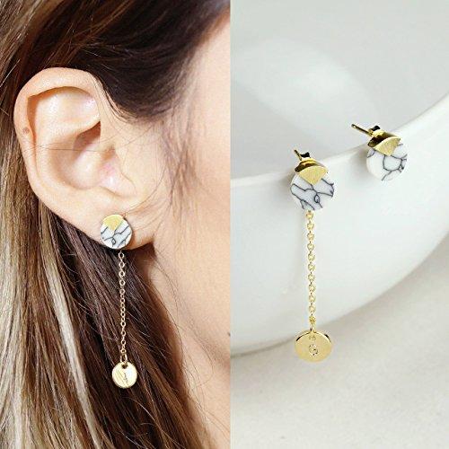 Minimalist Personalized Earrings Initial Earrings Dainty Marble Earrings Geometric Stud Earring Marble Coin Earrings   Emc Tc