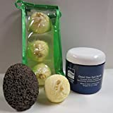 Bath Bombs: Coconut Lime Bath Bomb, 24 oz Cucumber/Melon Dry Salt Scrub, Pumice Stone by Dead Sea Spa Care, Bubble Bath