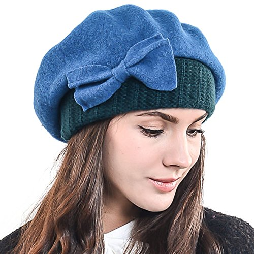 Lady French Beret Wool Beret Chic Beanie Winter Hat Jf-br034 (HY022-Turquoise)