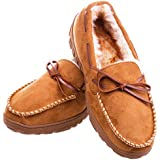 MIXIN Mens Winter Anti-Slip Indoor Outdoor Slippers Slip On Warm Fully Fur Lined Loafer Slippers Light Brown 14 M