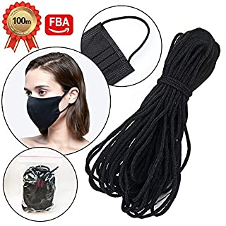 100 Yards Black Width Braided Elastic Band Elastic String Cord Heavy Stretch High Elasticity Knit Elastic String Rope for Sewing Craft DIY Mask.