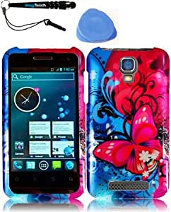 3-in-1 Bundle For ZTE Engage V8000(Cricket) Design Cover - Butterfly Bliss + IMAGITOUCH(TM) Touch Screen Stylus Pen + Pry Tool Case Opener
