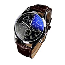 Lowpricenice(TM) Luxury Fashion Faux Leather Mens Blue Ray Glass Quartz Analog Watches