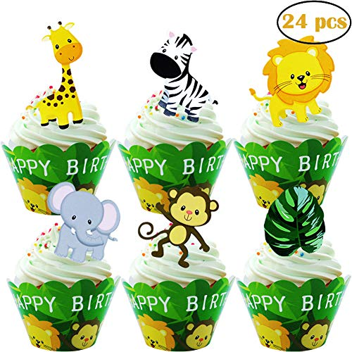 24pcs Jungle Animals Happy Birthday Cupcake Toppers + 24pcs Cupcake Wrappers for Woodland Garland Forest Theme Party Supplies