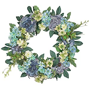 Emlyn Silk Summer Door Wreath 16 Inch -Handcrafted On A Grapevine Wreath Base- Multi Tones 17