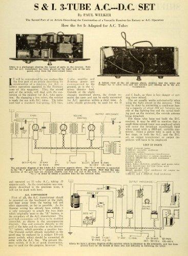 1928 Article Paul Welker Tube AC Conversion Transformer Diagram Battery Cable - Original Print Article