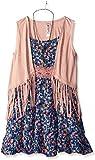 Beautees Girls' 2 Piece Suede Vest Over Dress
