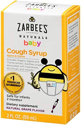 Zarbee S Naturals Baby Cough Syrup With Agave Thyme Natural Grape Flavor 2 Ounce Bottle