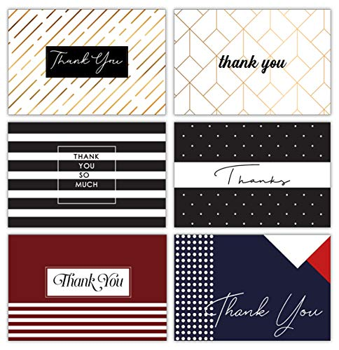 Modern Chic Thank You Cards with Envelopes and Stickers - 36 Folded Bulk Retro Thank You Notes for Wedding, Formal, Business, Graduation, All Occasion 4x6 - Blank on the - Modern Design Chic