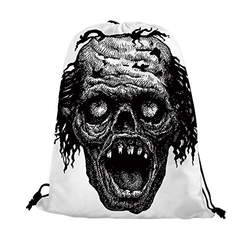 Halloween Nice Drawstring Bag,Zombie Head Evil Dead Man Portrait Fiction Creature Scary Monster Graphic For traveling,17.7