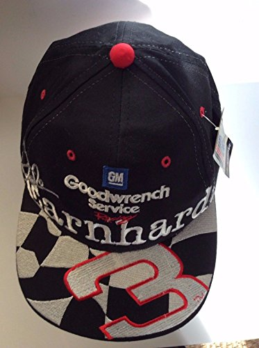 Dale Earnhardt Sr #3 Black Checkered Flag GM Goodwrench Service Racing Hat Cap One Size Fits Most OSFM Chase Authentics Plastic Snapback Strap