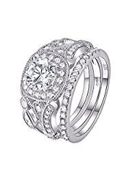 Newshe 3pcs 2ct Round White AAA Cz 925 Sterling Silver Wedding Engagement Ring Set Size 5-12