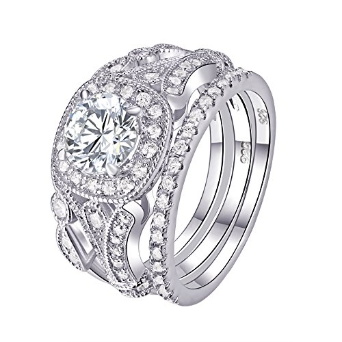 (Newshe Wedding Rings for Women Engagement Set 925 Sterling Silver 2ct Round White AAA Cz Size 7)