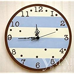Silent Wall Clock, Fashion Garden Children's Room Bedroom Study Living Room Decoration Wall Clock Clock Fashion Home Wall Decoration Wall Clock 14 Inch Sky Blue,intuitive Digital Display