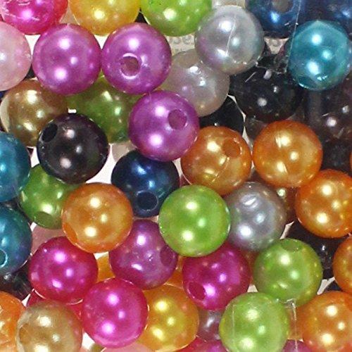 115 x Kunstperle 10mm Perlen Wachsperlen Dekoperlen Bastelperlen mit Loch Kunstperlen, Farbe:bunt