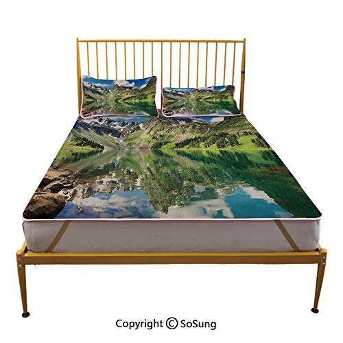 Lake House Decor Creative Queen Size Summer Cool Mat,Altai Mountains Lake and Summertime Cloudy Sky Reflections Waterscape View Picture Sleeping & Play Cool Mat,Green Blue