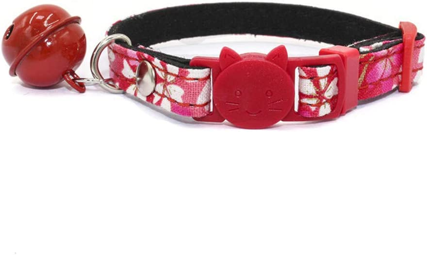 Dogs Kingdom Dog Cat Collar with Bell and Cat Buckle,Japanese Flower Breakaway Pet Collar for Cats Kittens Puppy Pink Xs:5-8.6 Neck