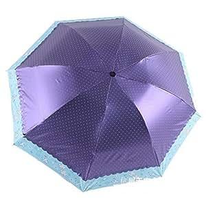 Folding Dots UV Parasol Sun Umbrella Color Blue
