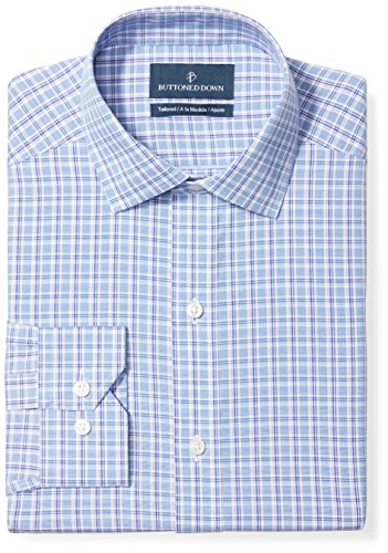 Check Shirt Dress - BUTTONED DOWN Men's Tailored Fit Spread-Collar Pattern Non-Iron Dress Shirt, Blue/Purple/Pink Check, 16