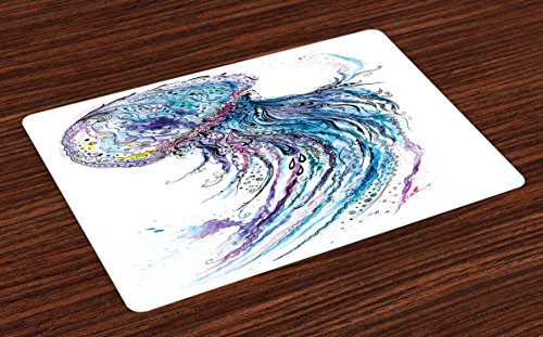 Ambesonne Jellyfish Place Mats Set of 4, Aqua Colors Art Ocean Animal Print Sketch Style Creative Sea Marine Theme, Washable Fabric Placemats for Dining Room Kitchen Table Decor, Blue Purple White - Marine Blue Pool Tablecloth